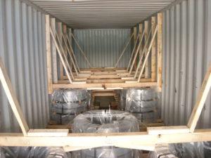 empotage de container, calage de marchandise